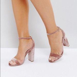 Pink velvet sandal heels size 36